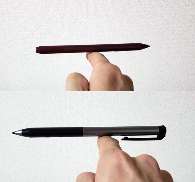 SurfaceペンとHeiyoペン、両者ともにペンの重心はほぼ真ん中にある。