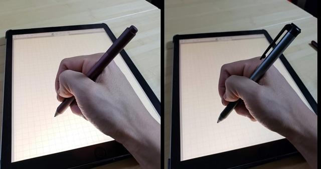 書き味は、Surfaceペンの方が柔らかく(左)、Heiyoペンの方が硬い(右)。