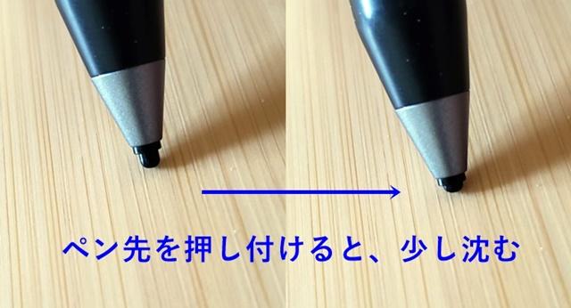 Heiyoペンは、ペン先が沈む。